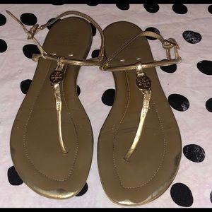 f6616801ab2 Tory Burch Emmy Silver Leather Flat Sandals